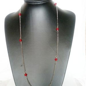 Jewelry - 🎈3/$12 Red Beads Silver Chain Necklace